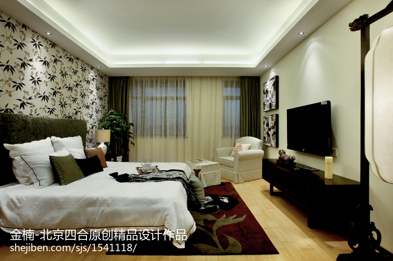 北京四合原创【金楠】中式电视背景墙设计