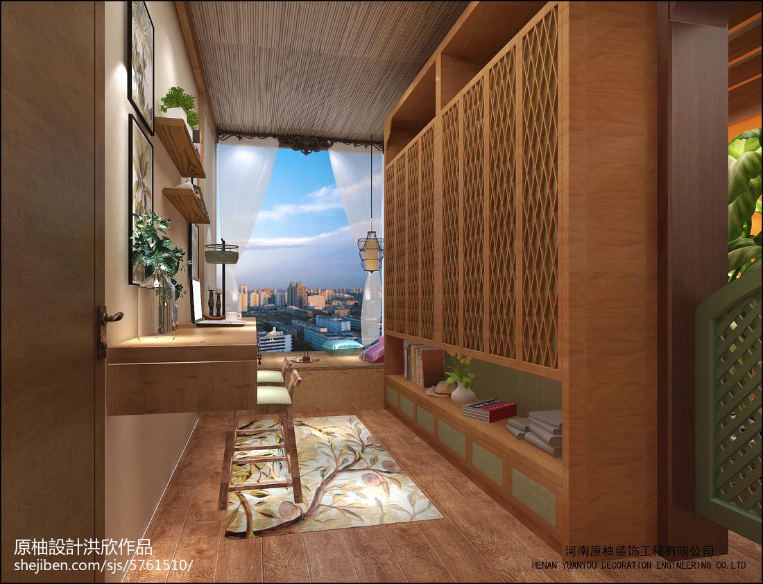 客厅书房连体 东南亚风格装修图片