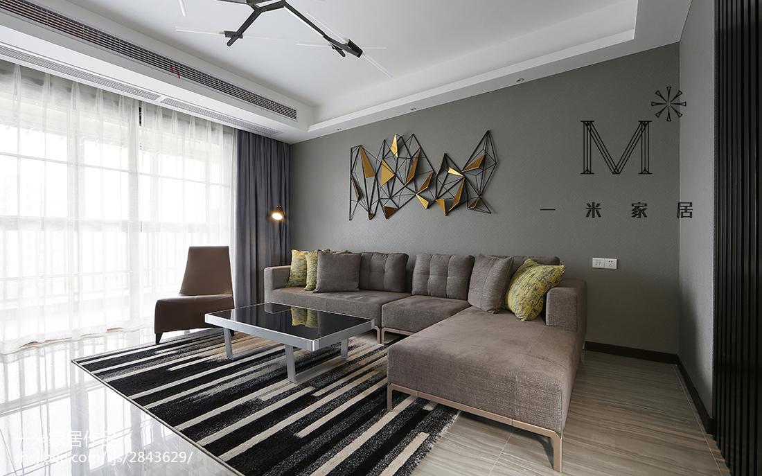 現代簡約沙發背景墻裝修圖