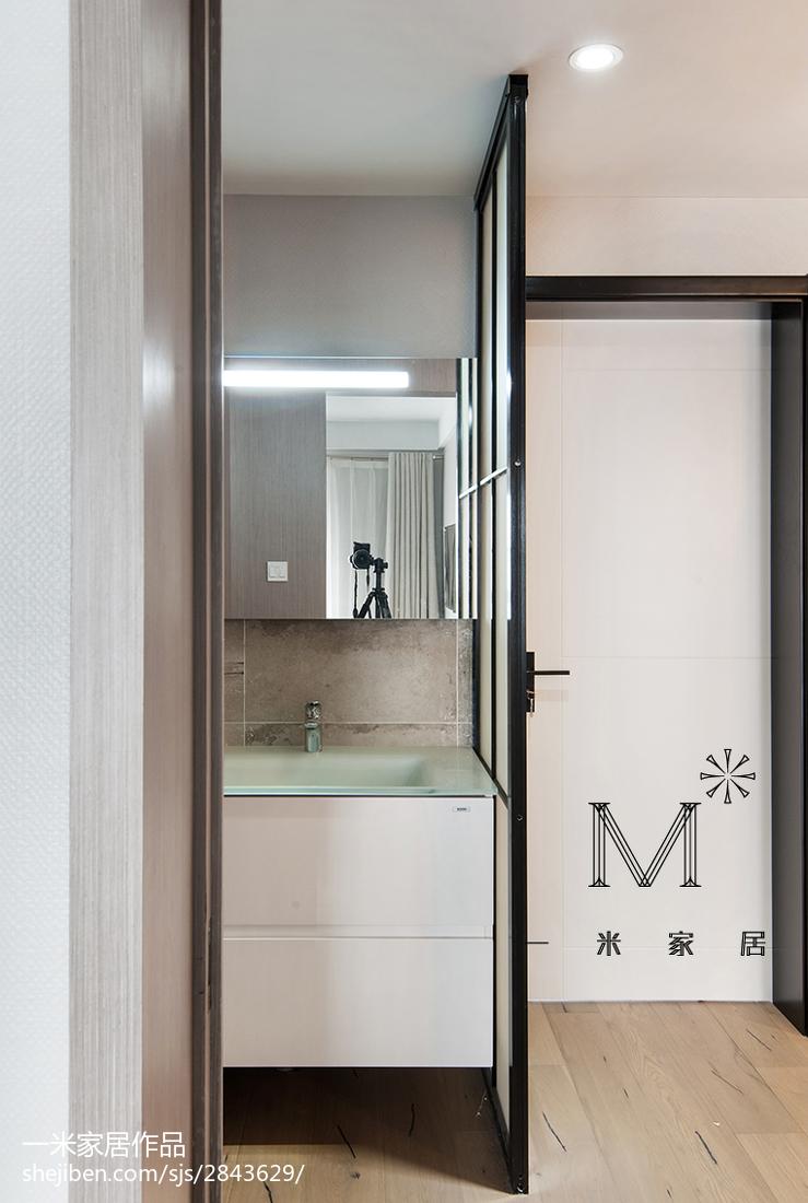面积93平现代三居卫生间装饰图片