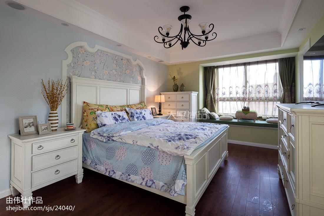 简洁156平地中海四居卧室设计效果图