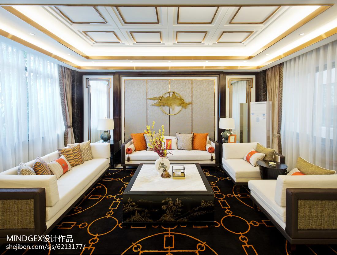 热门面积118平中式四居客厅装修实景图片