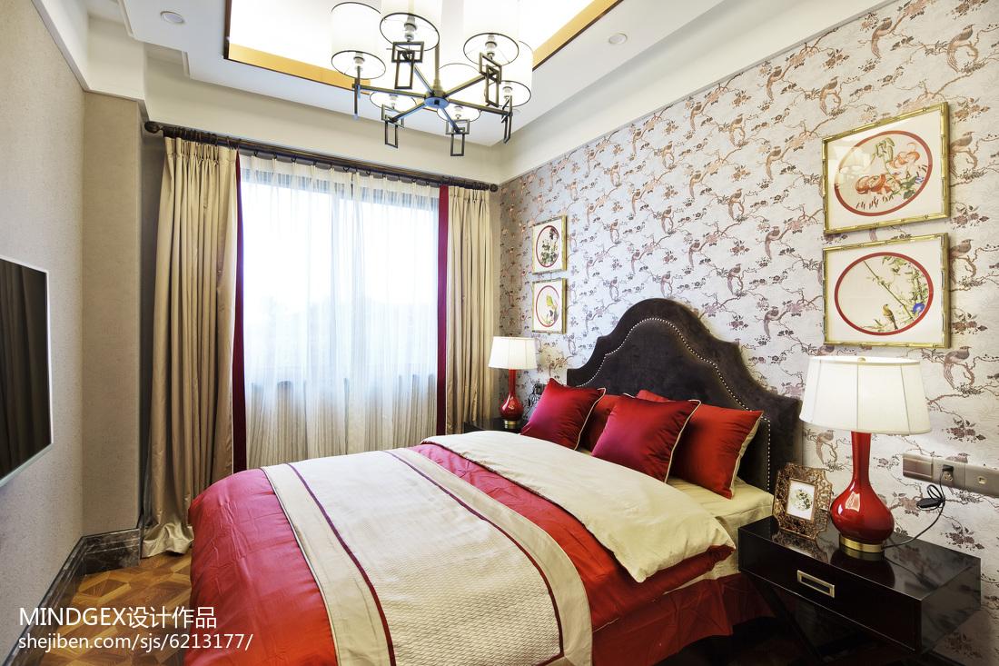 2018精选126平米四居卧室中式装修设计效果图片