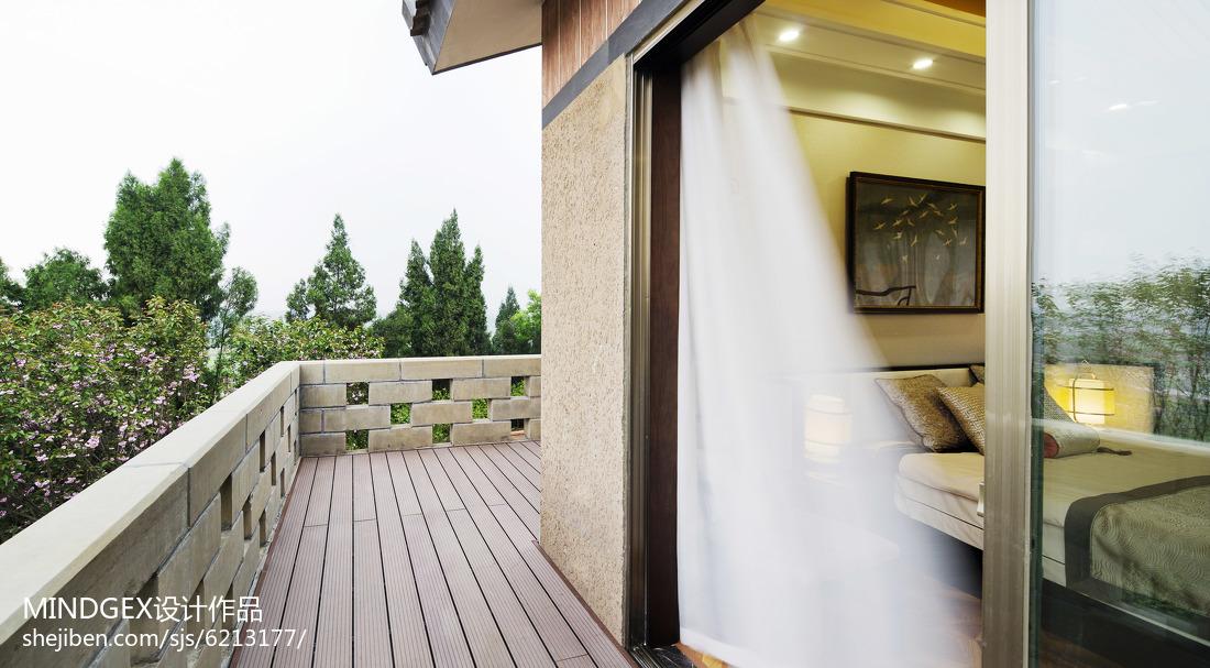 热门119平米四居阳台中式装修图片大全