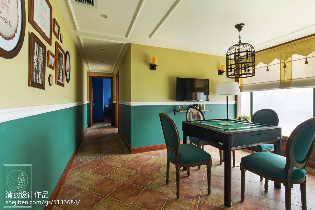 热门面积121平别墅休闲区美式装修设计效果图片欣赏