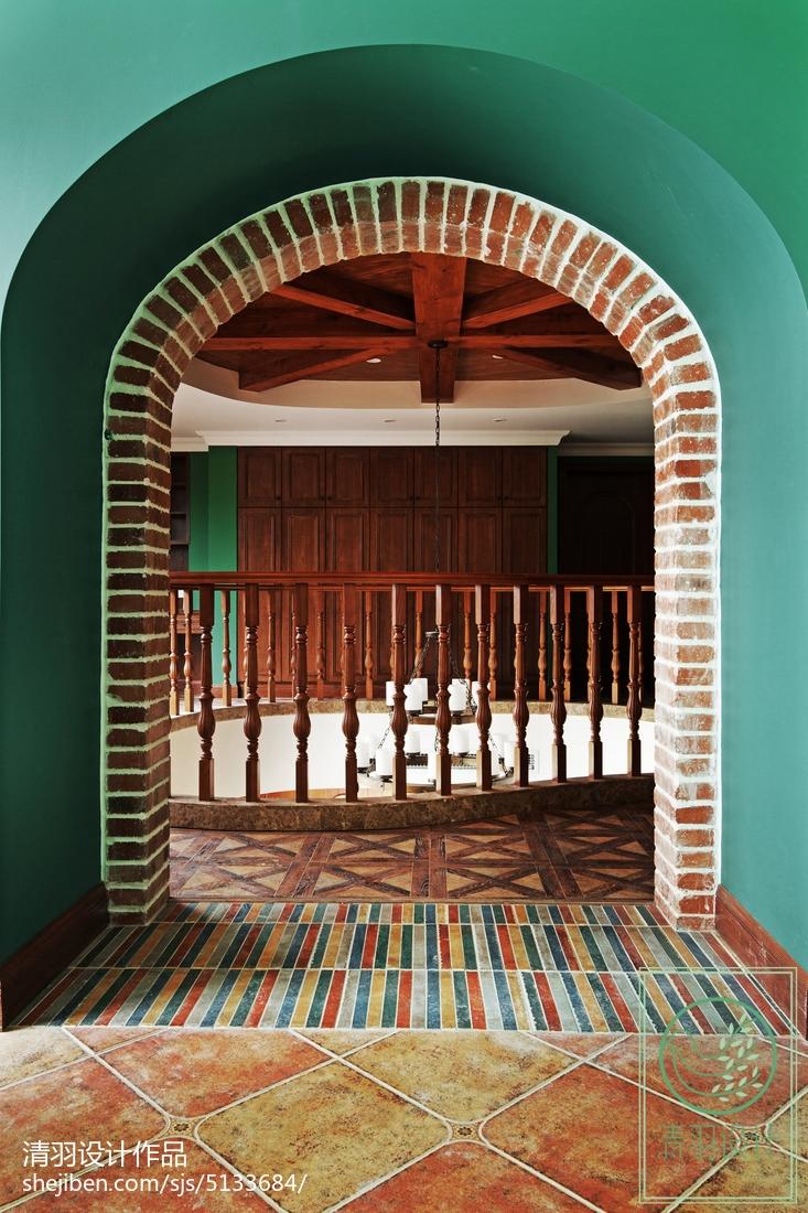 精美143平米美式别墅过道效果图片欣赏