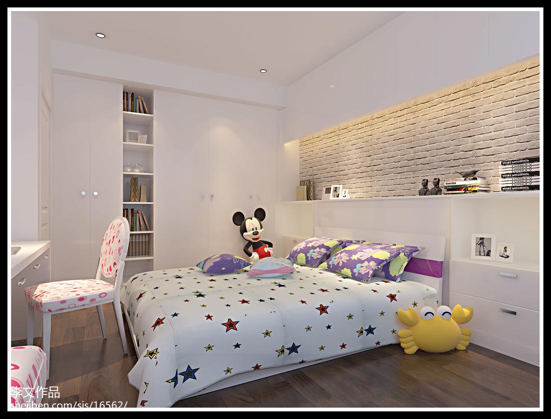 面积105平简约三居卧室装修设计效果图