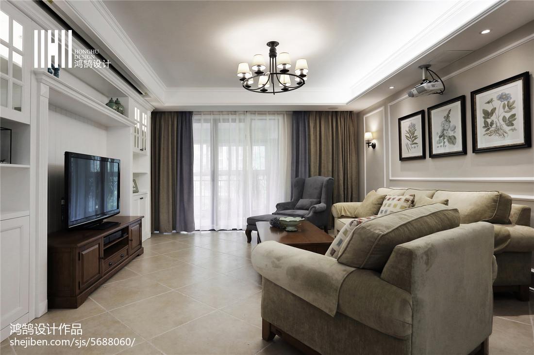 精选面积139平美式四居客厅装修效果图片