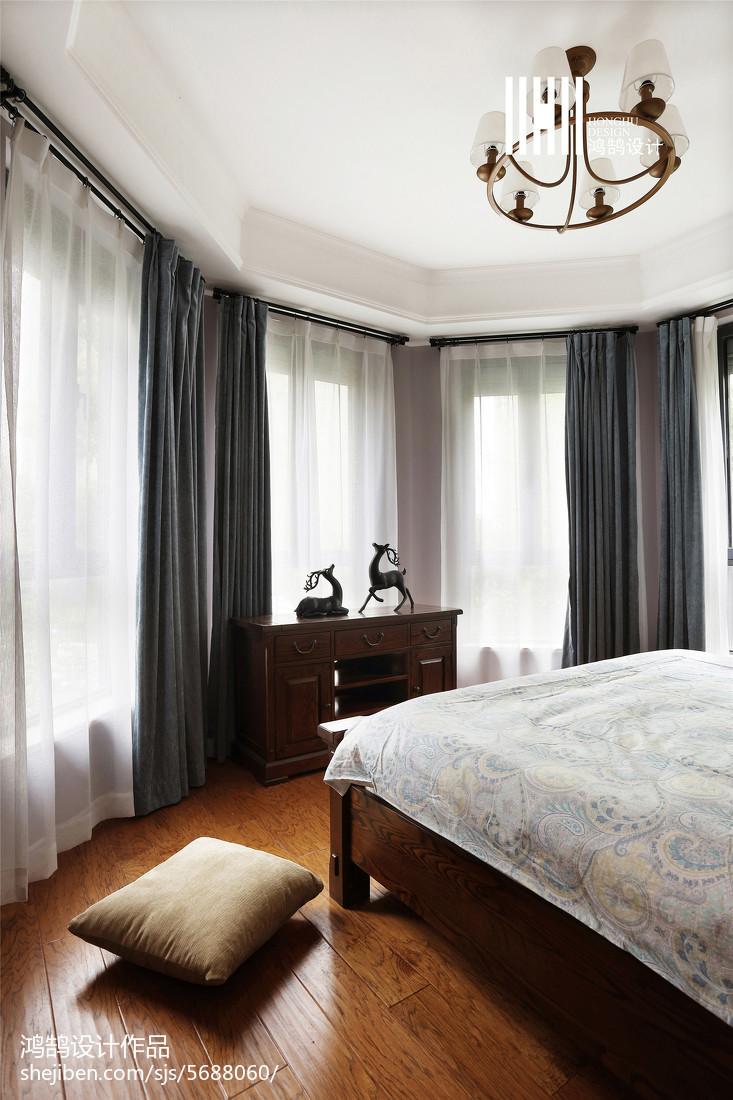 面积114平美式四居卧室装修实景图片