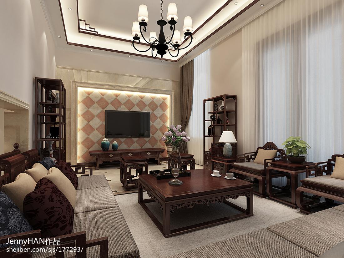 2018精选面积111平别墅客厅中式装饰图片大全