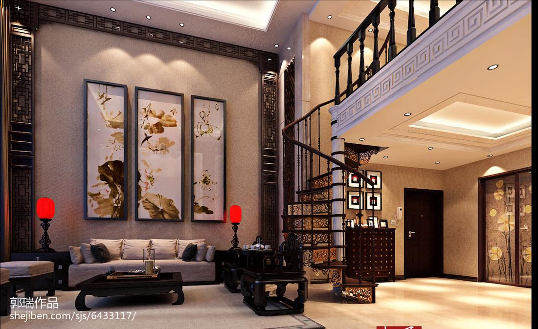 精美面积113平别墅客厅中式装修效果图