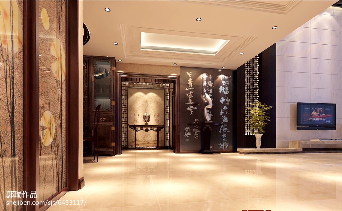 精美139平米中式别墅玄关装修图片大全