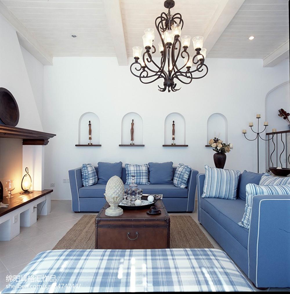 精美地中海复式客厅实景图片欣赏