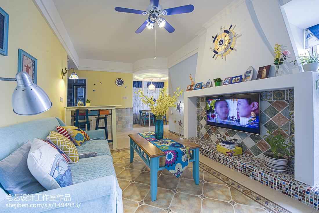 精选82平米二居客厅地中海装修设计效果图片欣赏