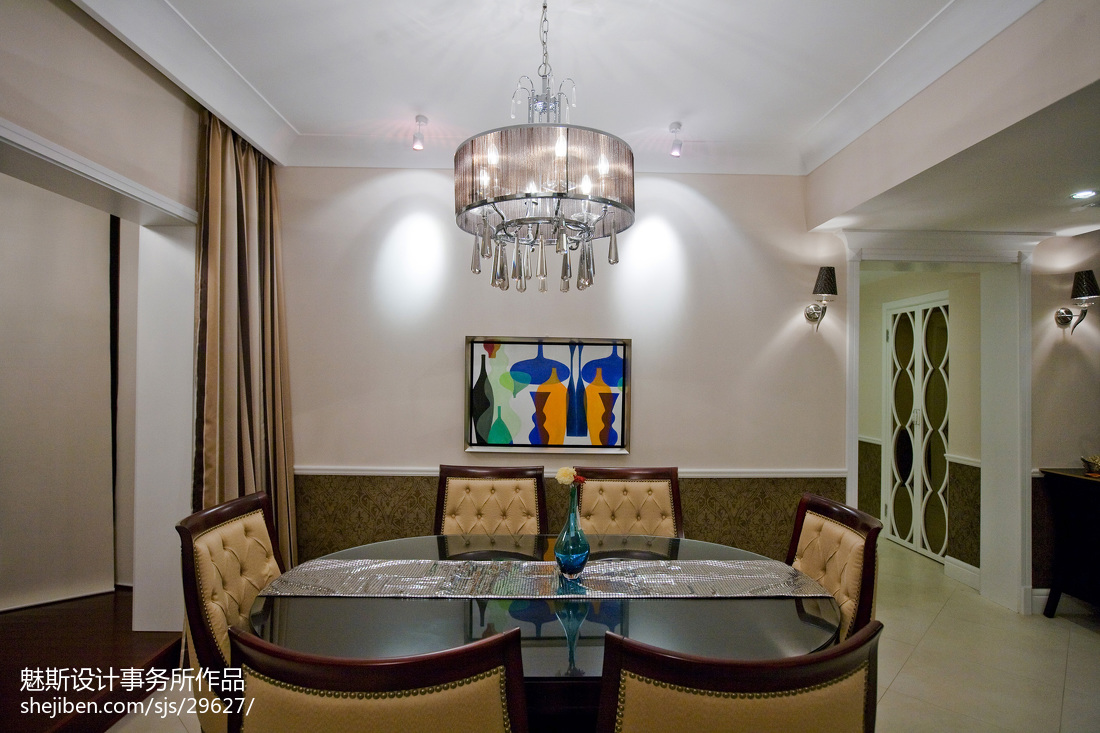 热门105平米三居餐厅简欧装修效果图片大全
