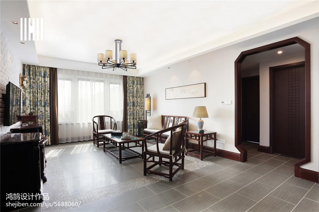 热门93平米三居客厅中式效果图片