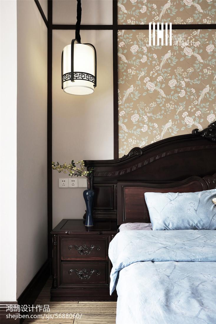 2018面积106平中式三居卧室装饰图片大全