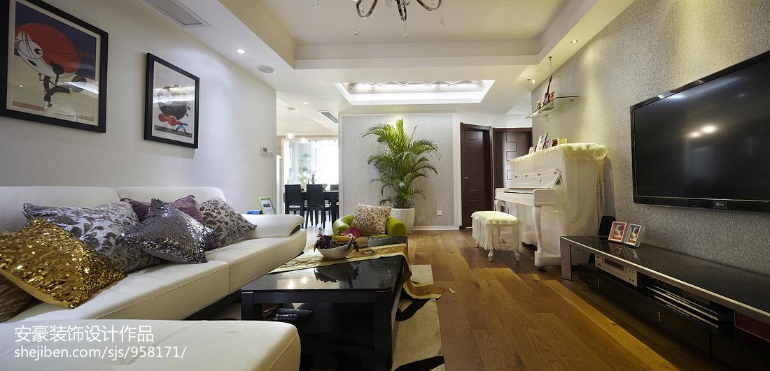 60平两室两厅现代客厅装修效果图
