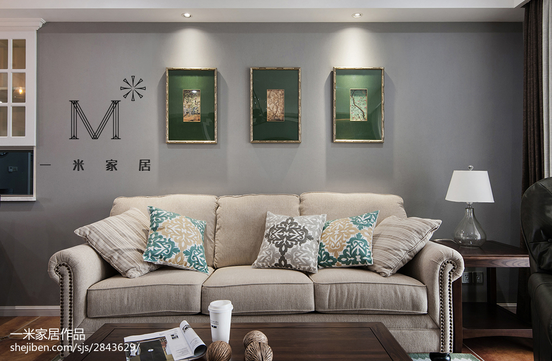 2018面积109平美式三居客厅欣赏图