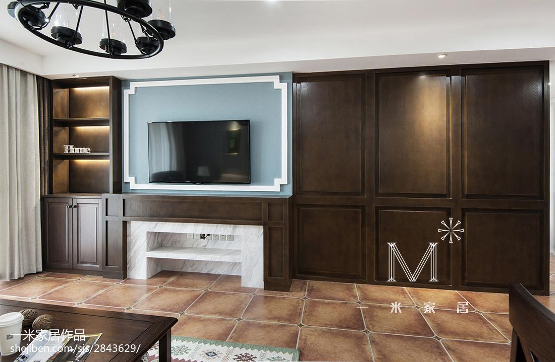 2018面积94平美式三居客厅欣赏图片