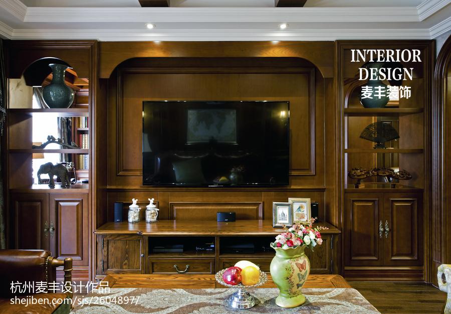 時尚現代美式電視背景墻效果圖