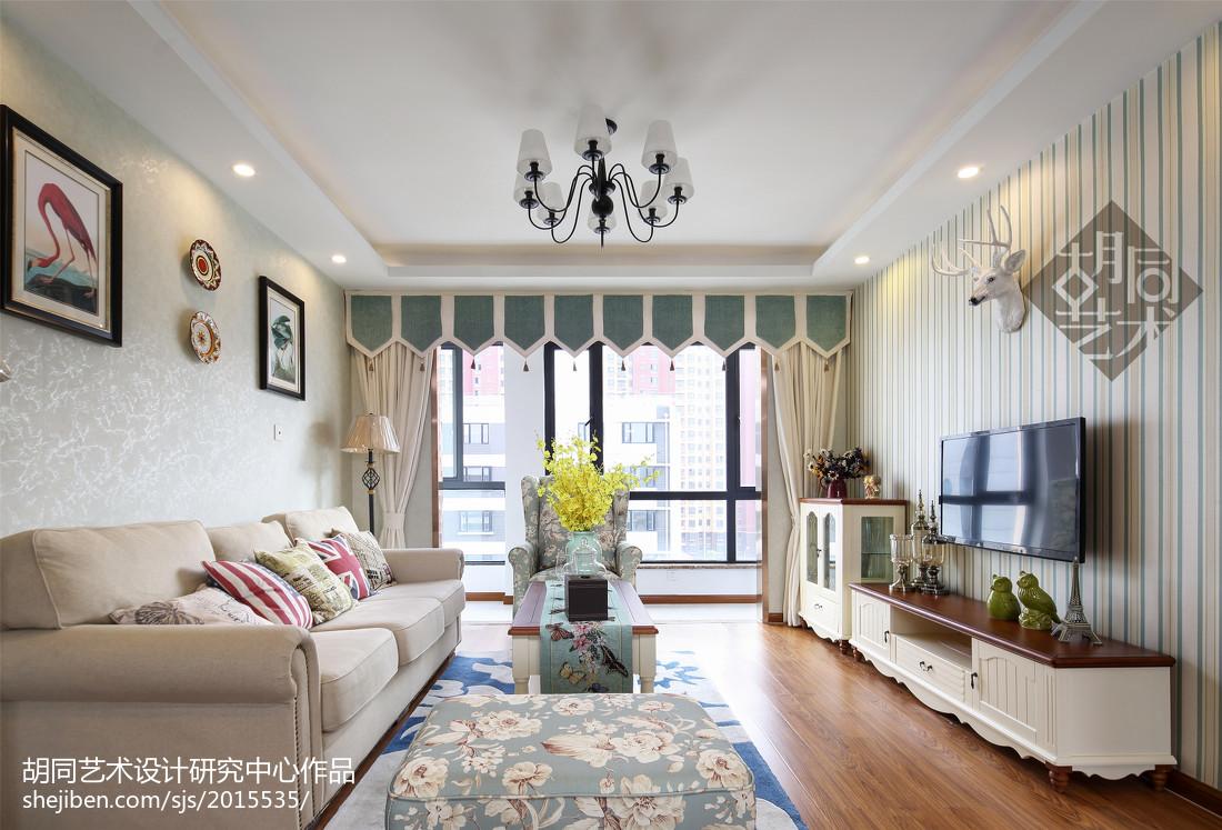 2018精选96平米三居客厅美式装修效果图片