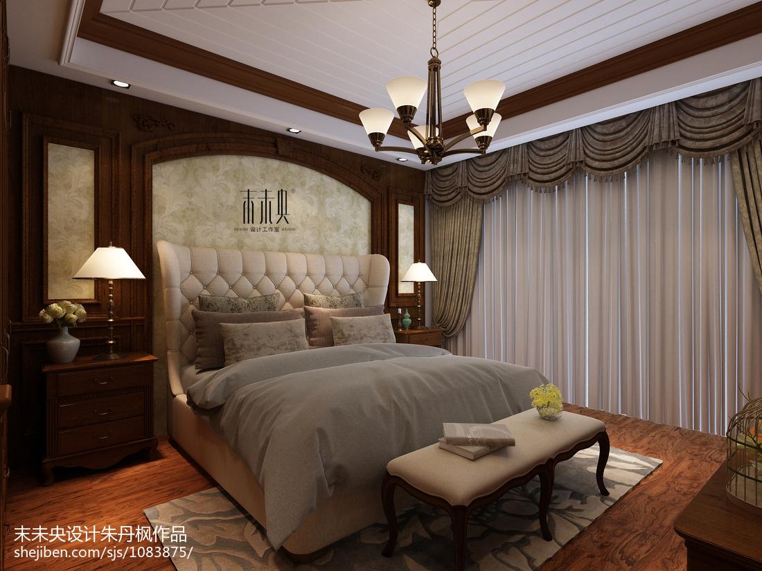 热门110平米四居卧室美式装饰图