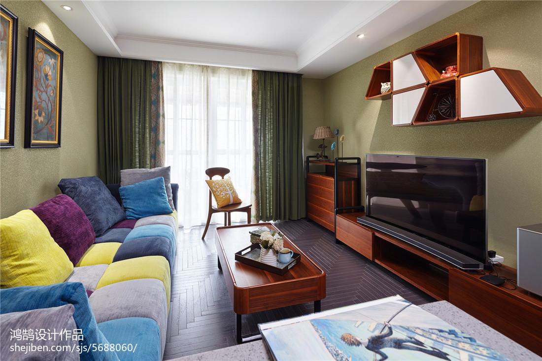 精选面积108平美式三居客厅装修效果图片