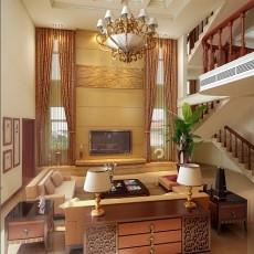 热门128平方中式别墅客厅装修效果图片
