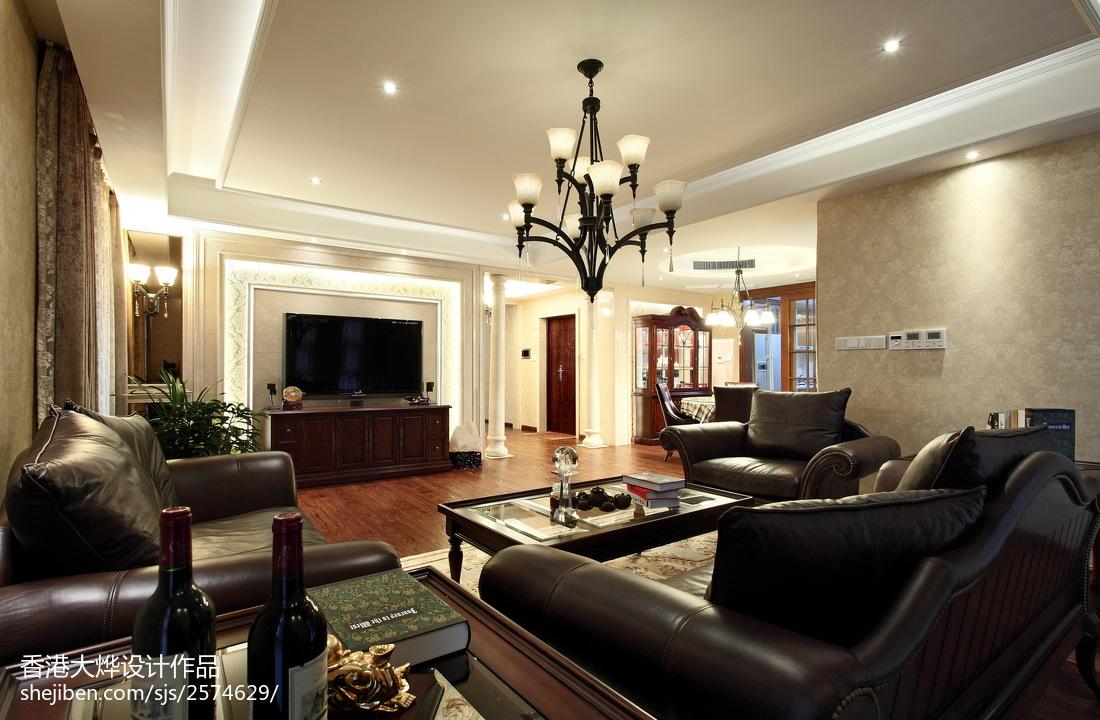 精选112平米四居客厅美式实景图片欣赏