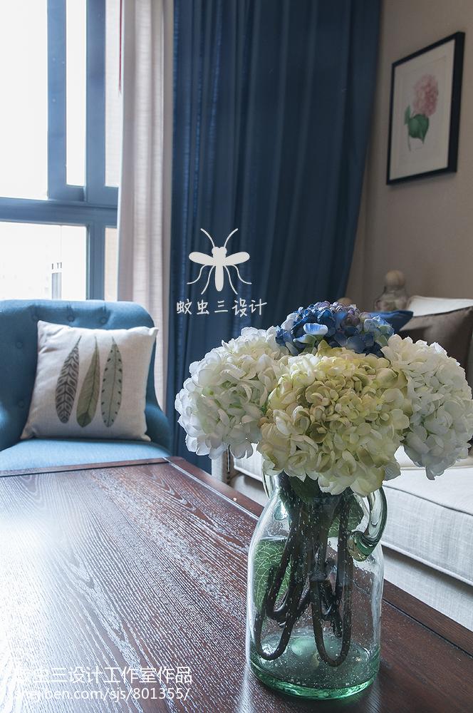 精美面积105平美式三居客厅实景图片欣赏