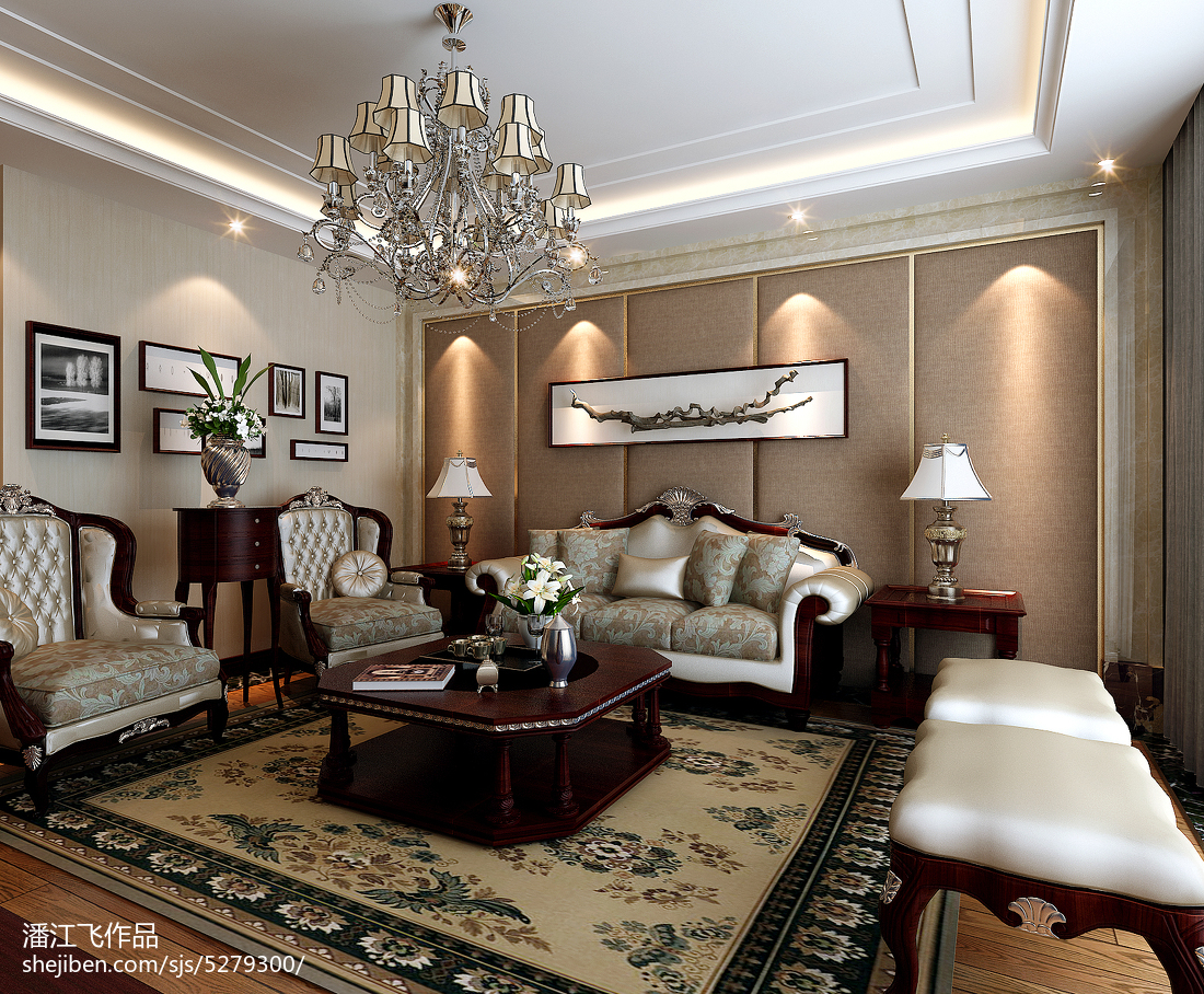 精美117平米四居中式装修设计效果图片欣赏
