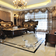 热门面积126平欧式四居客厅效果图片大全