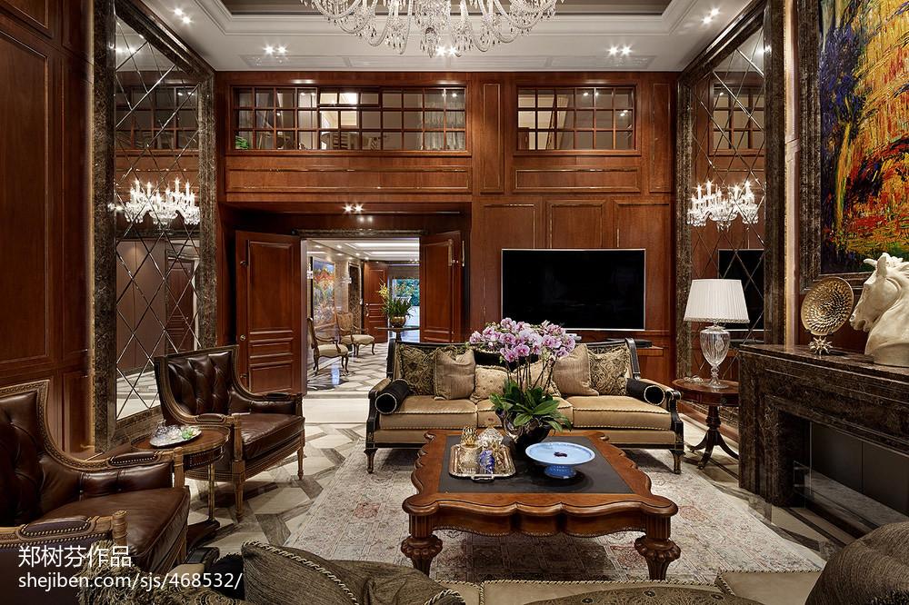 热门面积141平别墅客厅欧式装饰图片大全