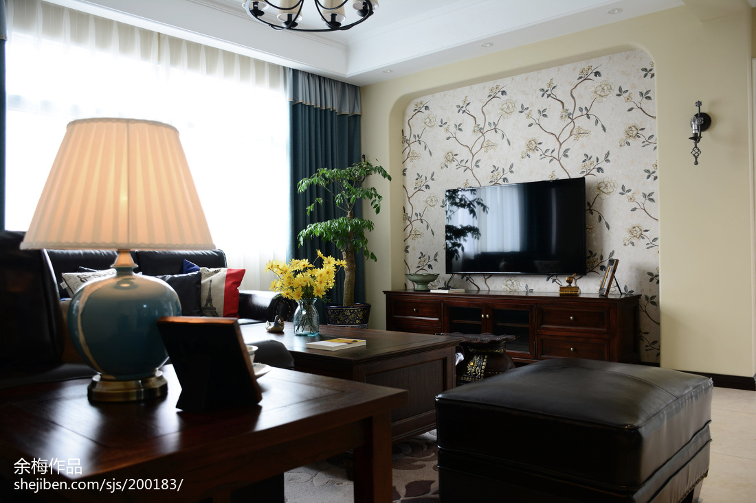 家裝美式風格電視背景墻效果圖