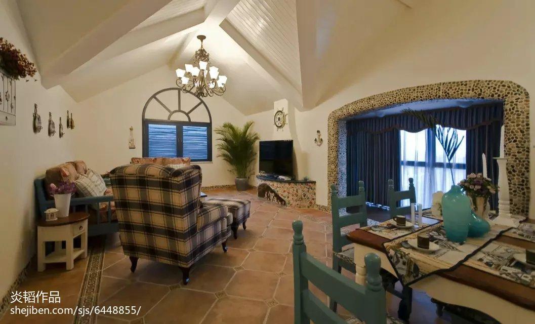 热门面积135平别墅客厅地中海装修设计效果图片欣赏