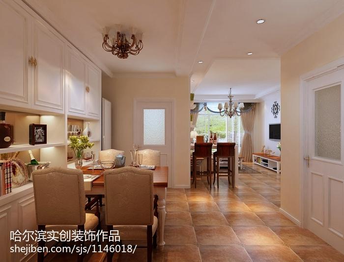 精选90平米二居餐厅美式装修实景图片大全