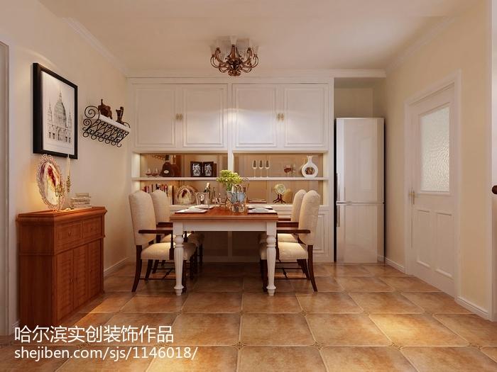 精美面积76平美式二居餐厅装修图片