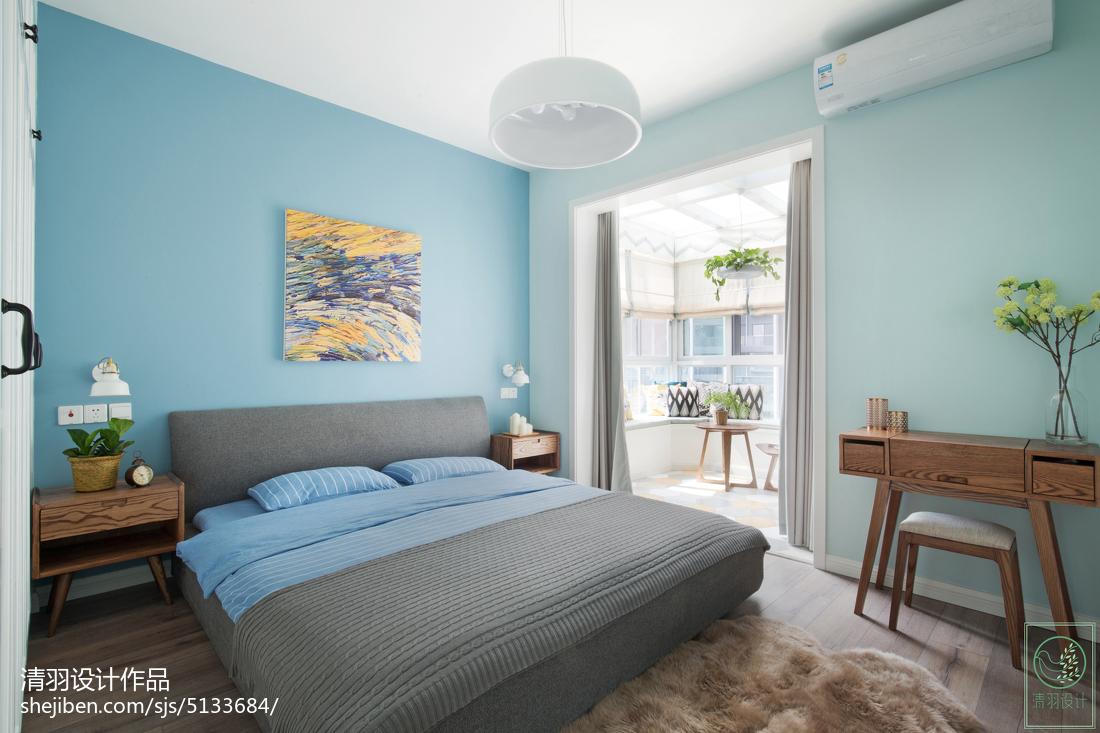 精选96平米三居卧室北欧装修设计效果图片