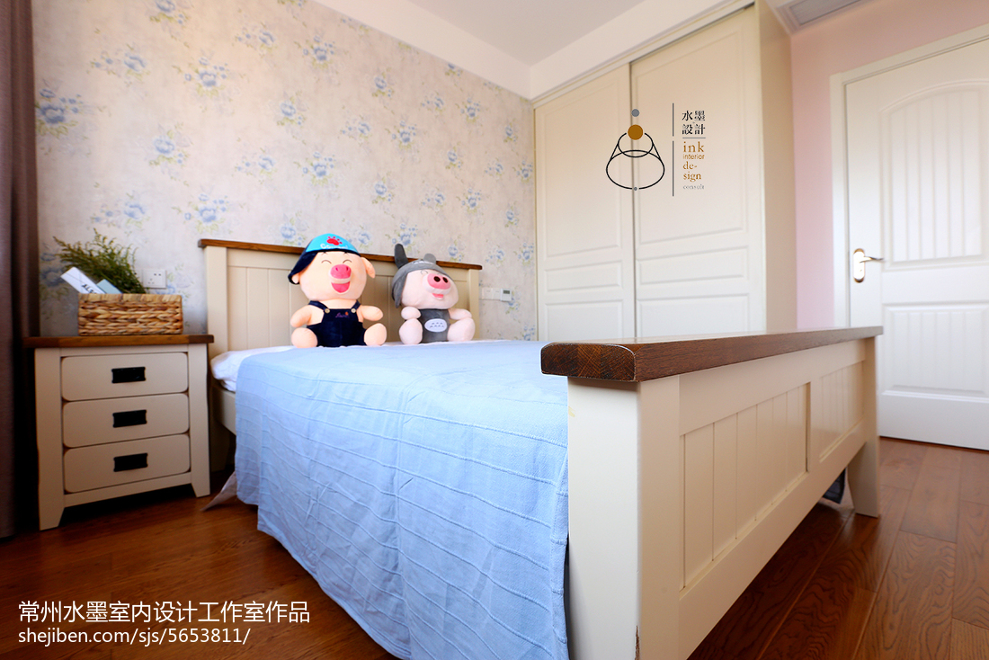 面积79平小户型儿童房美式装修实景图