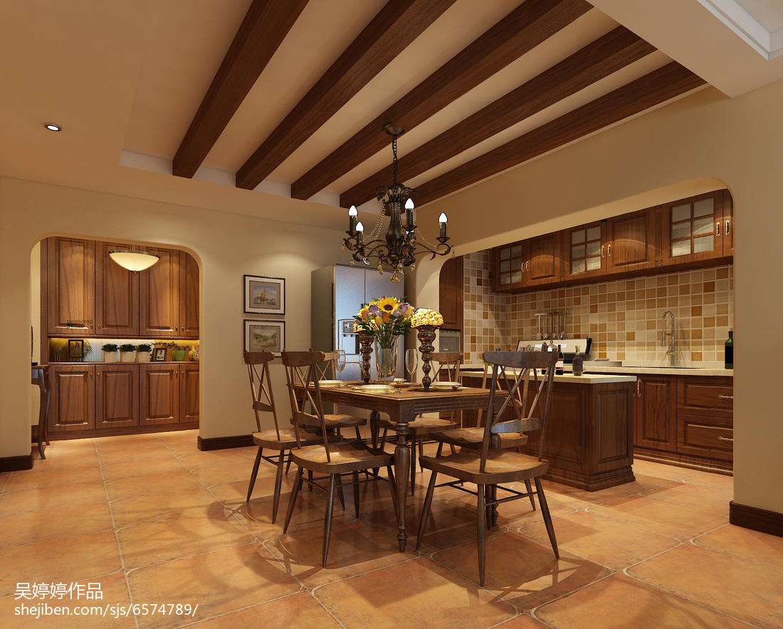 热门美式四居餐厅装修设计效果图片欣赏