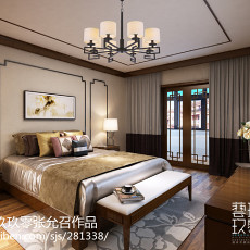 2018精选111平米中式别墅卧室欣赏图片大全