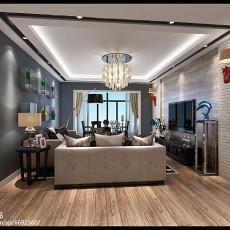现代单身公寓卧室床头背景墙效果图