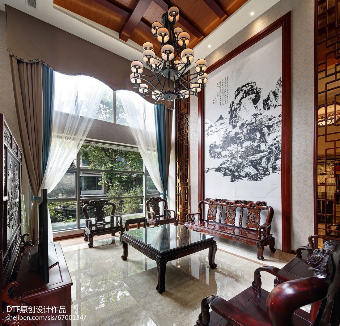 精美130平米中式别墅客厅装饰图片