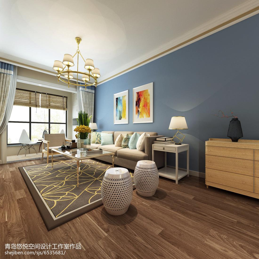 面积77平美式二居装修实景图片大全
