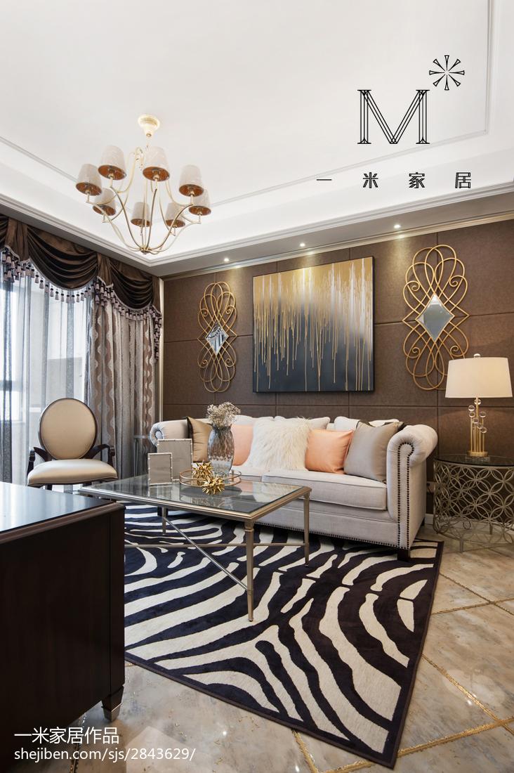 热门77平米二居客厅美式装修实景图