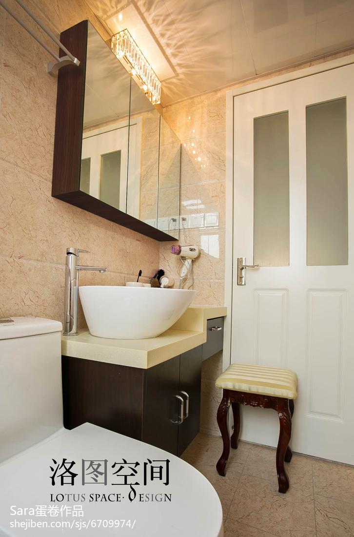 精美面积134平复式卫生间美式装修实景图