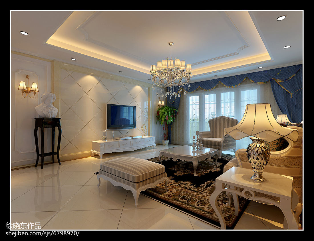 二房两厅装修效果图_欧式风格140平米四室两厅装修效果图大全-土巴兔装修效果图