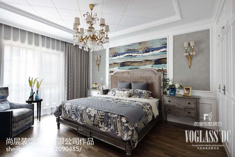 2018114平米简欧别墅卧室装饰图片大全