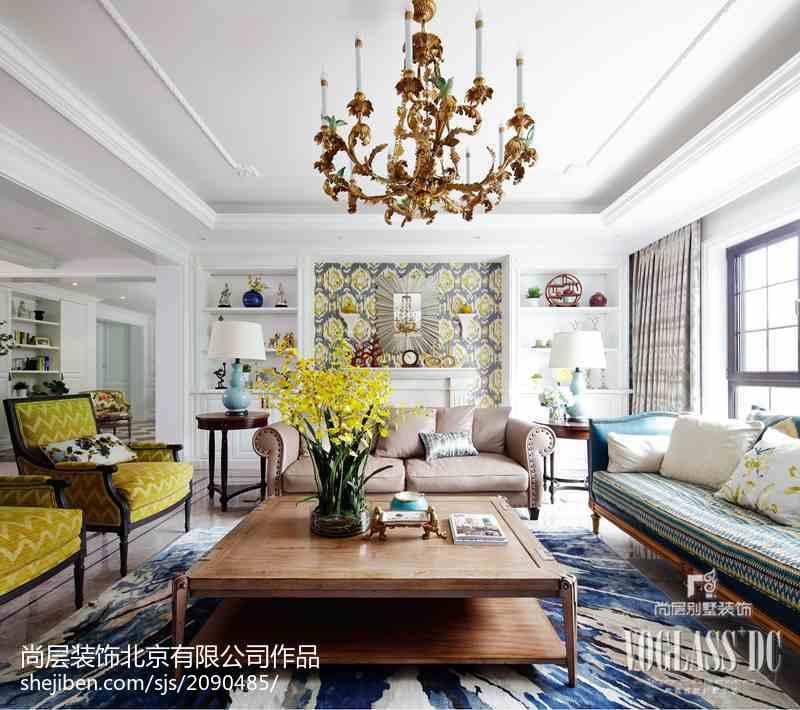 热门面积128平别墅客厅简欧装修效果图片大全